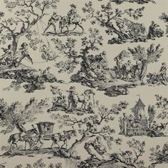 antique fox hunting scene wallpaper thomas strahan 6652. Black Bedroom Furniture Sets. Home Design Ideas