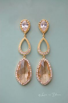Elegant champagne wedding special occasion earrings by Luxe in Bloom