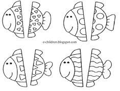 Βρες και ταίριαξε το άλλο μισό του ψαριού αφού πρώτα παρατηρήσεις τα σχήματα που έχουν επάνω τους.            και το σχετικό πατρόν      ...