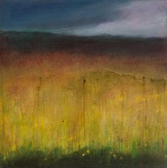 """Sedgemoor in spring - ashar.  abstract landscape of the moor on wooden panel 20"""" x 20"""" in a private collection"""