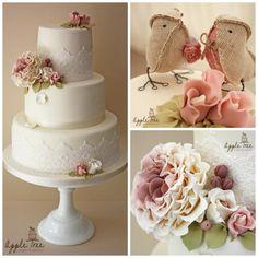 Vintage Rose Wedding Cake - Cake by Apple Tree Cakes & Crafts Ltd