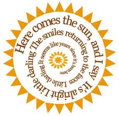 Here Comes The Sun Spiral Song Lyric Music Art Print - The Beatles - Color Choices. $15.00, via Etsy.
