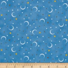 Night, Night Sweet Baby Stars & Moons Blue from @fabricdotcom  Designed by Bright Star Characters Ltd 2013 for Quilting Treasures, this cotton print fabric is perfect for quilting, apparel and home decor accents. Colors include blue, white, yellow and gold.