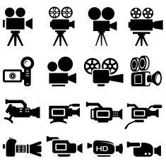 Film Camera Old and New black & white icon set vector art illustration
