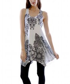 Another great find on #zulily! White Filigree Sidetail Racerback Tunic by Simply Couture #zulilyfinds
