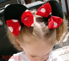 Minnie Mouse Ears  .. easy and cute. Now if I could get her to leave them in for more than 10 minutes