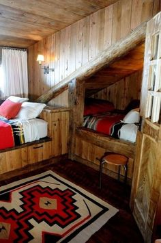 Cabin life - extra bed under the stairs