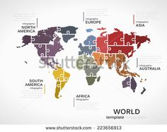 Puzzle infographics vector stock 25xeps general pinterest stock vector world map concept infographic template with gumiabroncs Images