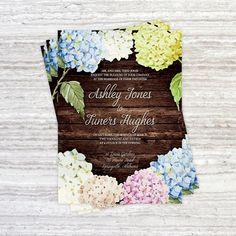Printable Wedding Invitation Set - Customizable Hydrangea Wedding Invitation - DIY Printable Invite - Rustic Chic Wedding Invitation by LuckyLogoBoutique on Etsy