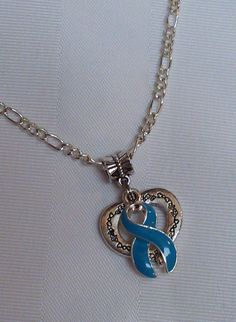 Teal awareness open heart necklace!