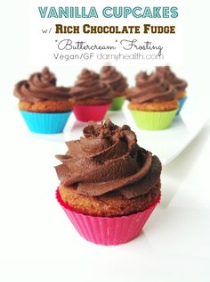 """Check out my Vegan Vanilla Cupcakes w/ Rich Chocolate Fudge """"Buttercream"""" Frosting recipe. This recipe is vegan, gluten free, grain free, high fiber, all natural ingredients and the perfect vegan vanilla cupcake with rich chocolate fudge frosting."""