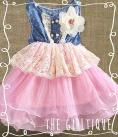 Baby Girl Clothes - First Birthday Outfit - Denim Pink Tutu Lace - Country - 1st Birthday - Cute Baby Girl Clothes - Lace Dress - Tutu by TheGirltique, $22.00