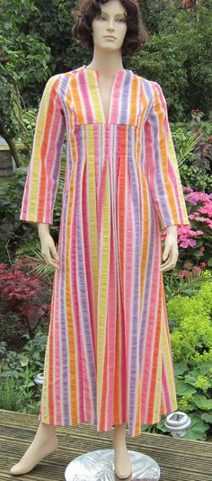70s vintage Dutchess, Lord & Taylor sorbet striped maxi dress lounger, Bust 34    Bust = 34  Waist = 32  Hips = Free  Shoulder to hem = 54