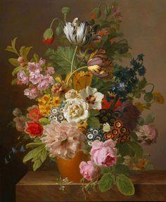 Jan Frans van Dael or Jean-François van Dael (1764-1840)  —  Roses, Tulipes, Liseron Dahlias and Other Flowers in a Pot in the Earth on a Entablature in Marble (1314×1600)