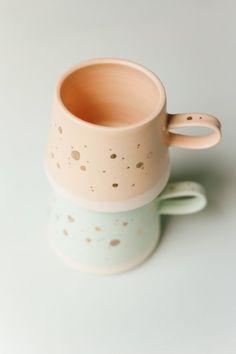 Handmade Copenhagen Mug in Mint 22k GOLD by paperandclaystudio