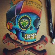 #skull #mexicanskull #Blue #felipebernardes #oldschool