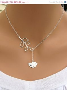 Detailed Bird and Branch Lariat Necklace ($26)