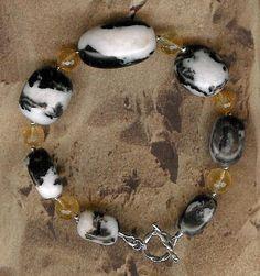 Bracelet  Zebra Agate Yellow Quartz Sterling by ChicStatements, $30.00