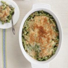 Green beans are the star of this dish layered with a homemade light cream sauce instead of a canned cream soup.