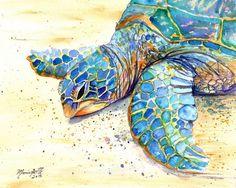 Sea Turtle Fine Art Print 8x10  Kauai Art  Hawaiian by kauaiartist