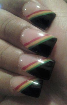 rasta french tip nails Jamaica Nails, Rasta Nails, Nail Techniques, Vacation Nails, Manicure At Home, French Tip Nails, Nail Games, Square Nails, Nail Tips