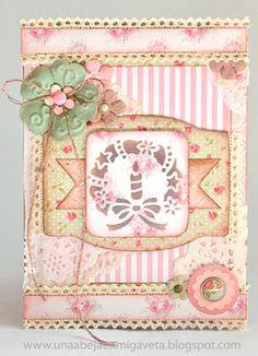 Una abeja en mi gaveta: Reto 12 tarjetas para Navidad: nº7 - Shabby Chic y/o Vintage