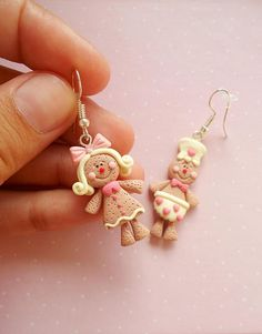 Gingerbread Man Earrings - Christmas Earrings - Dangle Earrings - Gift for girlfriend - Food Earrings - Christmas Jewelry