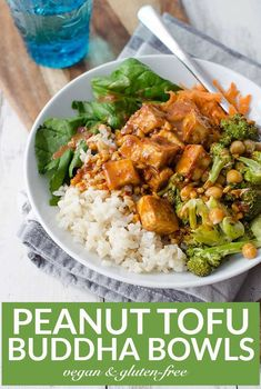 Peanut Tofu Buddha Bowl! A healthy lunch or dinner, perfect for the New Year! Brown rice, the BEST tofu, vegetables, roasted broccoli in a simple peanut sauce. Vegan and Gluten-Free. | www.delishknowledge.com Tofu Recipes, Asian Recipes, Whole Food Recipes, Vegetarian Recipes, Healthy Recipes, Ethnic Recipes, Dinner Recipes, Vegetarian Dinners, Lunch Recipes