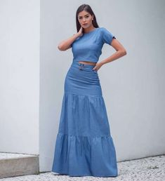 Image may contain: 1 person, standing Iranian Women Fashion, African Fashion, Denim Attire, A Line Skirt Outfits, Modest Fashion, Fashion Dresses, Denim Maxi Dress, Mode Jeans, Jeans Rock