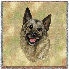 Norwegian Elkhound Dog Portrait Art Tapestry Lap Throw