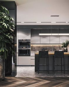Residential interior with natural materials on Behance Interior Design Examples, Residential Interior Design, Luxury Interior Design, Luxury Home Decor, Interior Design Kitchen, Interior Design Inspiration, Residential Lighting, Kitchen Inspiration, Contemporary Kitchen Design