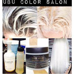 U B U COLOR SALON: Platinum Blonde Hair Using Olaplex