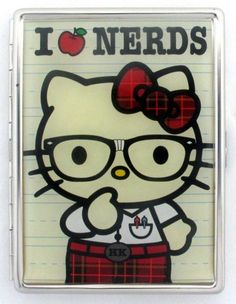 Loungefly Hello Kitty I Love Nerds ID Card Case Silver Metal Business Card