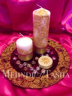 Indian henna inspired candle and plate set by Mehandibytasha, £30.00