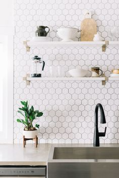 Before + After - Ottewell Oasis Reveal, mid century modern, mid century modern design hexagon tile Modern Light Fixtures Kitchen, Kitchen Design, Kitchen Decor, Trendy Kitchen Tile, Decor Interior Design, Kitchen Interior, Mid Century Modern Kitchen, Mid Century Kitchen, Modern Kitchen Design