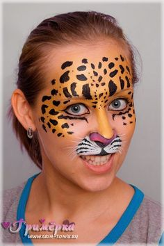 Аквагрим, грим, леопард face painting, make-up, leopard