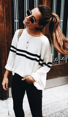 White Sweater Top with Black Stripe Detail // simple casual style | wear.