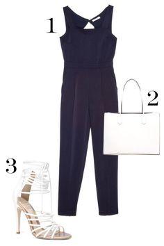 1. Mango Cut-Out Back Jumpsuit, $119; mango.com. 2. ASOS Structured Shopper Bag with Removable Clutch, $50; asos.com. 3. Aldo Birchell Sandals, $160; aldoshoes.com.