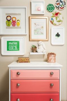 J and J Design Group: Chic girl's bedroom with eclectic art gallery over pink ombre chest. Girl's room art ...