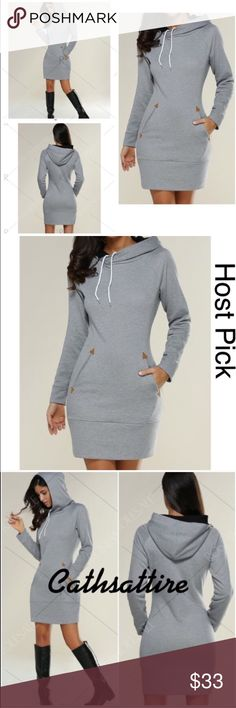 """ARRIVED and AVAILABLE! Hoodie Dress. Hoodie dress with pockets and long sleeves.  Comes in S, M, L and XL.  This is the S listing. Bust 34"""". Waist 28"""". Hips 34"""". Length 34"""".  FIRM PRICE. Wear with boots or leggings. Comfy, pretty and fun. Models wearing size M Dresses Mini"""