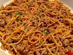 Jednogarnkowe spaghetti - Blog z apetytem Spaghetti, Menu, Rice, Vegetables, Cooking, Ethnic Recipes, Blog, Dinner Ideas, Pies