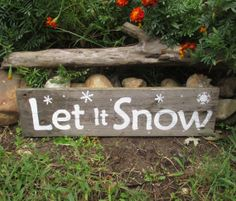 Country Christmas - Let It Snow Shelf Sitter Sign - Rustic Christmas Decor - Reclaimed Wood Decoration
