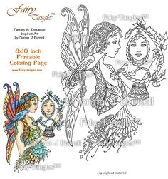 Fairy Tangles Printable Coloring book Sheets by by FairyTangleArt
