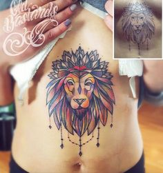 Lion tattoo on sternum by Simina