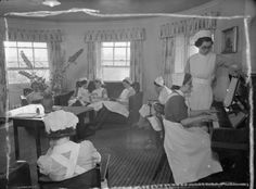 Nurses enjoying their free time at Brocket Hall, a makeshift Wartime maternity home in Welwyn, Hertfordshire, 1942