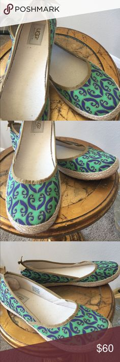Adorable UGG slip ons with bow detail in back ! Like new UGG slip ons! Green and blue with Bow on back. Super nice shoes! UGG Shoes Flats & Loafers