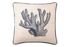 Staghorn 20x20 Embroidered Pillow, Blue on OneKingsLane.com