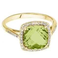 Allurez Cushion-Cut Peridot and Diamond Cocktail Ring 14k Yellow Gold (3.70cttw)  alternate image