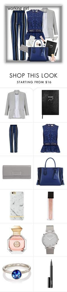 """working girl"" by maggiesinthemoon on Polyvore featuring Miss Selfridge, Sloane Stationery, Proenza Schouler, Sea, New York, Marc by Marc Jacobs, Longchamp, Richmond & Finch, Jouer, Rituel de Fille and Tory Burch"