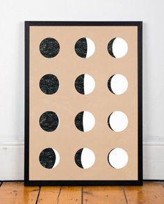 Moon art poster, Phases of the moon, Moon print, Contemporary poster, Scandinavian design, A4 poster, Moon wall art, Modern poster, Artwork
